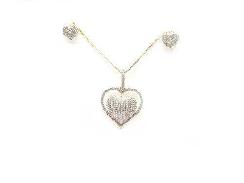 10K Gold 0.37CT Diamond Heart Earrings & Pendant