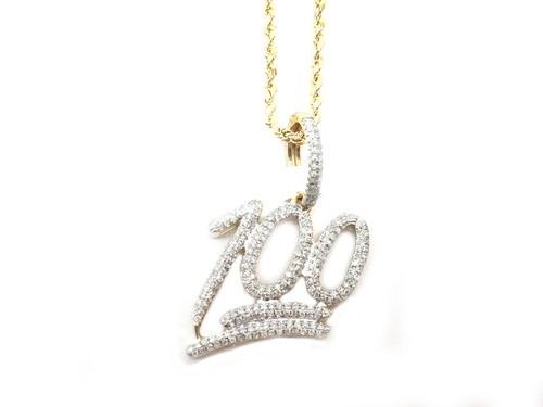 "10K Gold 0.55 CT Diamonds ""100"" Pendant"