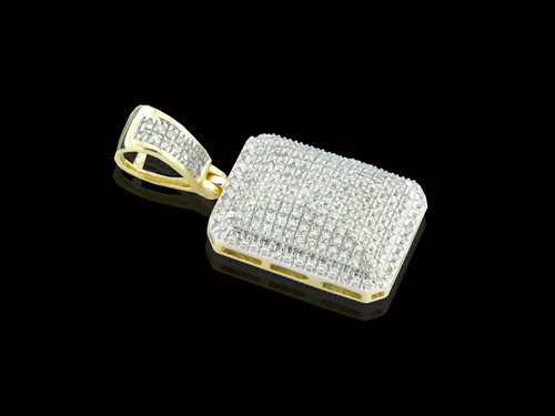 10K Gold Block Pendant with 0.50ct White Diamonds