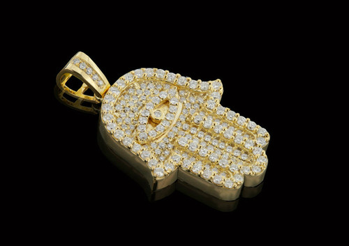 "10K Gold 1.55CT Diamonds Custom ""Hamsa"" Pendant"