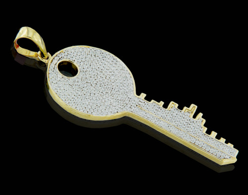 10K Gold 0.95CT Diamonds Key Pendant