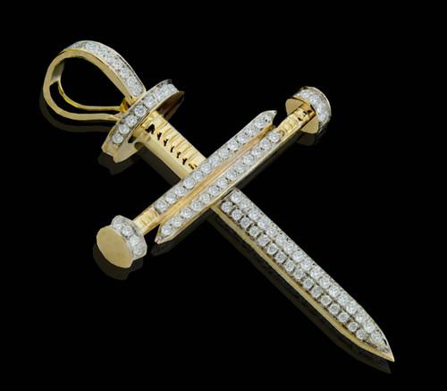 10K Gold 1.05CT Diamonds Nail Cross Pendant
