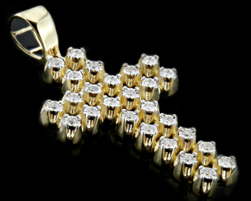 10K Gold 0.40CT 2-Rows Diamonds Micro Cross Pendant