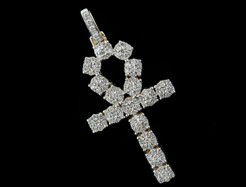 10K Gold 1.30CT Diamonds Ankh Pendant