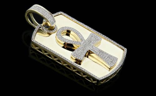 10K Gold 0.65CT Diamonds Ankh DogTag Pendant
