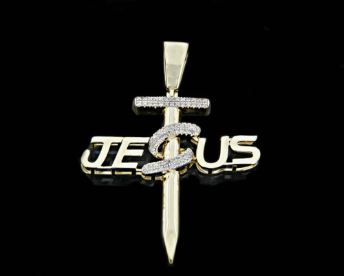 10K Gold 0.10CT Diamond Micro Jesus Cross Pendant