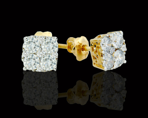 10K Gold 1.10CT Diamonds Earrings
