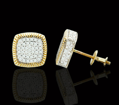 10K Gold 0.50CT Diamond Square Earrings