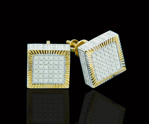 10K Gold 0.50CT Diamond 3D Square Earrings