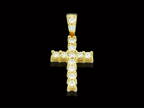 10K Gold 0.48CT Diamonds Cross Pendant