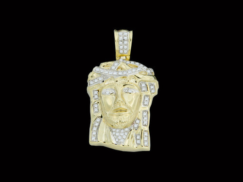 10K Gold 0.20CT Diamonds Jesus Pendant