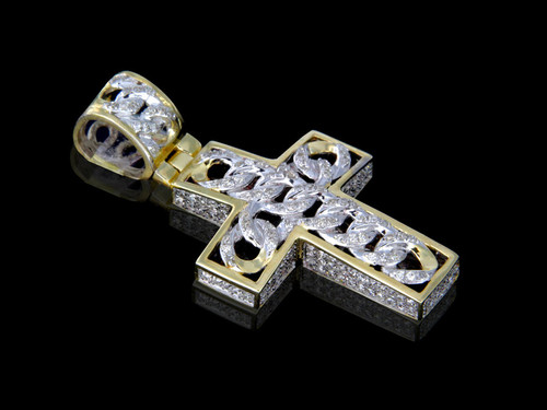 10K Gold 0.59CT Diamonds Link Cross Pendant