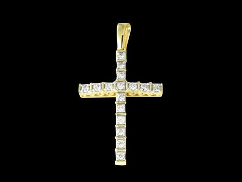 10K Gold 0.72CT Diamonds Cross Pendant