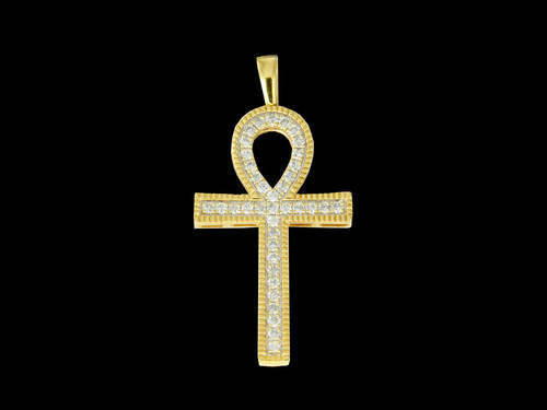 10K Gold 0.68CT Diamonds Ankh Pendant