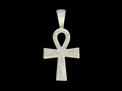 10K Gold 0.80CT Diamonds Ankh Pendant