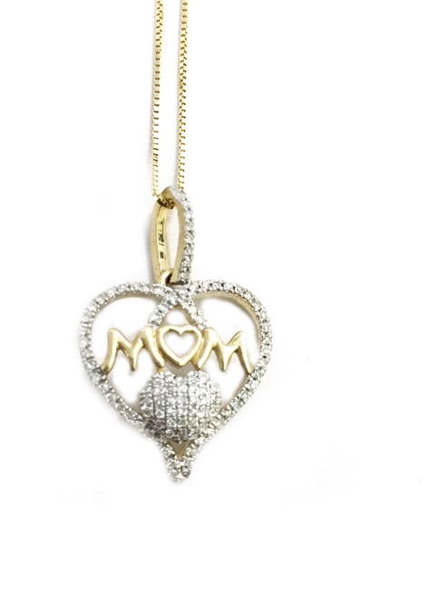 10K Gold 0.23ct MOM Heart Pendant