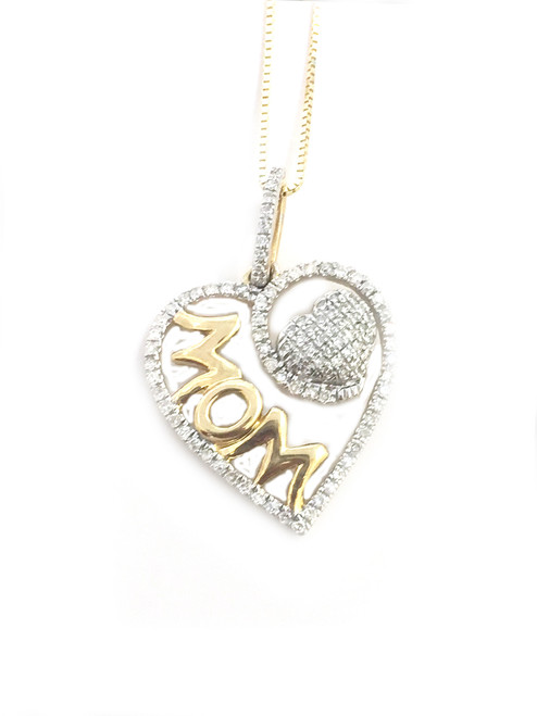 10K Gold 0.35ct MOM Diamond Heart Pendant