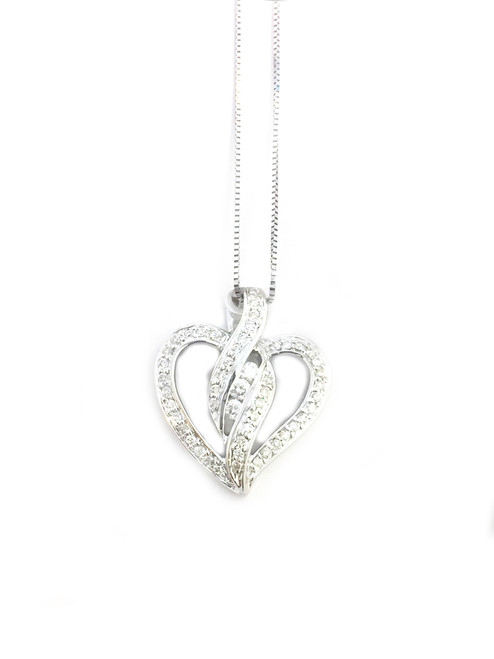 10K White Gold 0.33ct Heart Diamonds Pendant