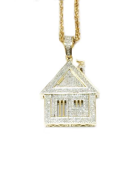 10K Gold 0.80ct diamonds Trap House Pendant