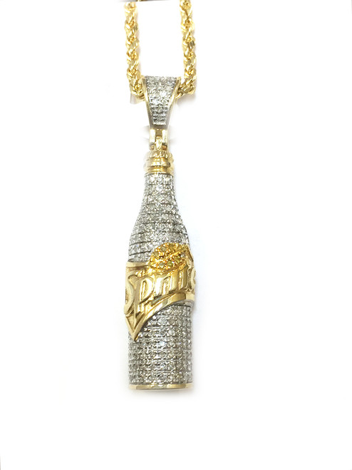 10K Gold Bottle Pendant with 0.35ct Diamonds