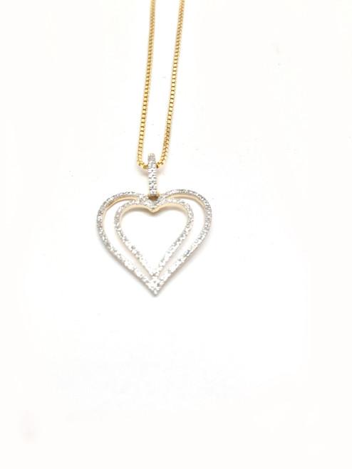 10K Gold 0.13 CT Diamonds Heart Pendant