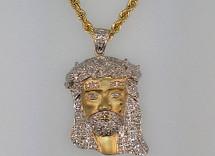 Gold Micro Jesus with Diamonds