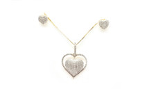 10K Gold 0.37CT Diamond Heart Earrings & Pendant