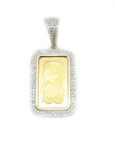 24K 5gm Gold Bar Lady Fortune with 0.52ct White Diamonds