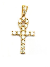 10K Gold Ankh with 2 ct White Diamonds