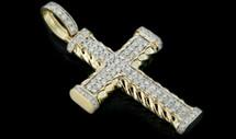 10K Gold 1.65CT Diamonds Cross Pendant