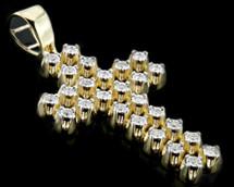 10K Gold 0.40CT 2-Rows Diamonds Micro Cross Pendant