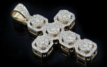 10K Gold 1.30CT Diamonds Micro Cross Pendant