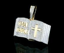 10K Gold 1.85CT Diamonds Micro Bible Pendant