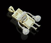 10K Gold 0.60CT Diamond Micro $100 Bill Figure Pendant
