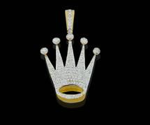 10K Gold 0.60CT Diamonds Crown Pendant