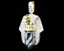 10K Gold 0.55CT Diamond King Tut Goon Mask Pendant