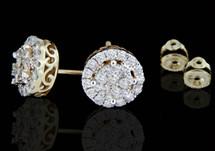 10K Gold 1.00CT Diamonds Halo Style Earrings