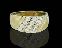 14K Gold 1.10CT 3-Rows Men's Diamond Band