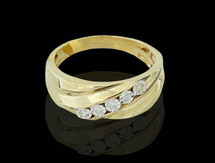 10K Gold 0.12CT Diamonds Men's Band
