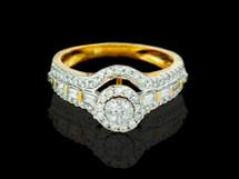14K Gold 0.92CT Diamonds Ladies Engagement Ring