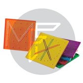 Set of 6 geo boards for children to develop fine motor control and practice patterning.