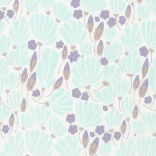 Turquoise Breezy Floral - Morning Song - Elizabeth Olwen - Cloud9 Fabrics