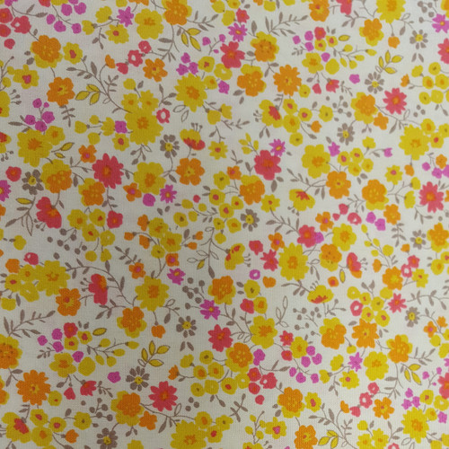 Ditsy Floral in Yellow & Pink - Sevenberry Cotton