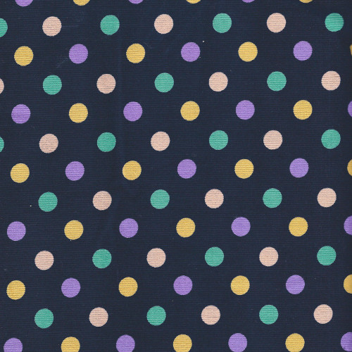 Large Green and Purple Polka Dot on Navy - Cotton corduroy - Japanese Fabric - Sevenberry Fabric