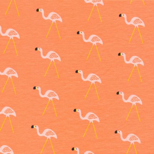 Lawn Ornament Coral - flamingo - Organic Cotton Jersey Knit - Sidewalk - Rae Hoekstra - Cloud9 Fabrics
