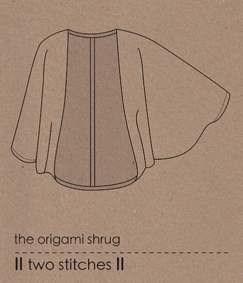Origami Shrug sewing Pattern, Two stitches, available from Purple Stitches UK. Dressmaking Patterns for Adults' clothes for Jersey or woven fabrics