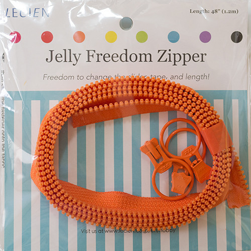 Jelly Freedom Zipper from Lecien fabric.  Versatile zipper with free project pattern include in the pack.  Available from Purple Stitches, UK