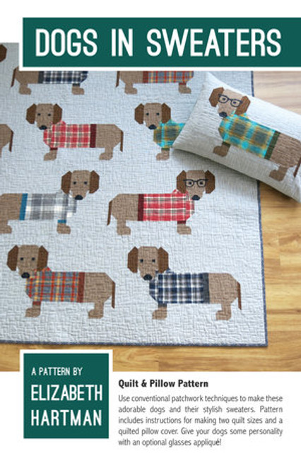 Dogs in Sweater printed quilt pattern by Elizabeth Hartman. Available at Purple Stitches in UK