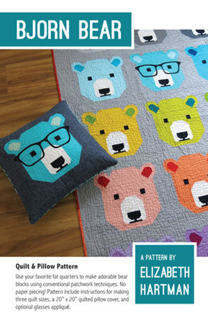 Bjorn Bear printed quilt pattern by Elizabeth Hartman. Available at Purple Stitches in UK