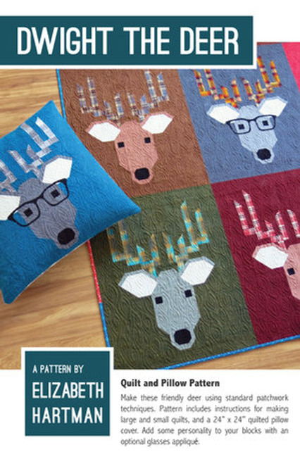 Dwight the Deer printed quilt pattern by Elizabeth Hartman. Available at Purple Stitches in UK